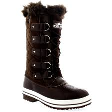womens duck boots uk womens quilted lace up fur lined warm shoes duck winter