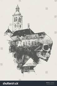 dragon nest halloween town background old town skull kutna gora czech stock vector 112890082 shutterstock
