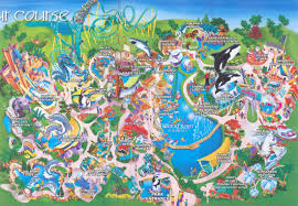Map Of Orlando Vintage Seaworld Orlando Map Pinterest Inside Sea World