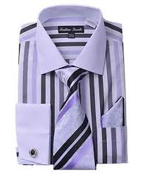 french cuff striped dark color black dress shirt matching t
