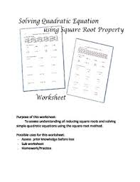 solving quadratic equations using square root method worksheet