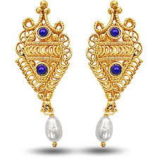 gold plated earrings buy surat diamond 24kt gold plated earrings with blue lapiz