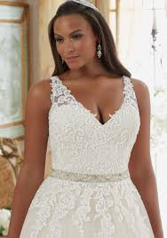 Designer Wedding Dresses Gowns Lace On Tulle Ball Gown Plus Size Wedding Dress Style 3208 Morilee