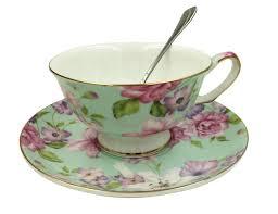 amazon tea amazon com jsaron vintage flower tea coffee cup with spoon and