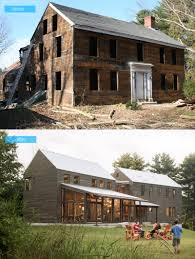 new england farmhouse before and after impressive usage of reclaimed wood in this new