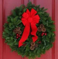 maine balsam wreath with real pine cones and big bow