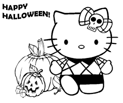 hello kity halloween pumpkin coloring pages for preschool
