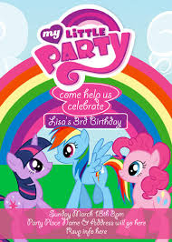 mlp my little pony invitation digital file 4x6 party my