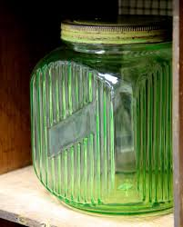 found in ithaca antique vaseline glass kitchen canister jar sold