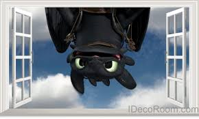 Wall Stickers Home Decor 3d Toothless Night Fury Dragons Upside Down Window Wall Decals