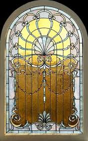 Antique Stained Glass Door by Antique American Floral Arched Stained And Jeweled Glass Window 53