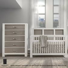 Convertible Cribs With Changing Table And Drawers by Natart Rustico Moderno Collection 2 Piece Nursery Set Crib And 5