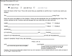 simple living trust form sample templates