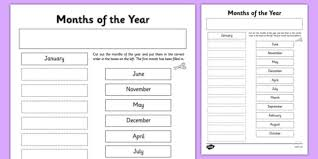 month of the year cut and stick worksheet month year cut