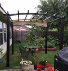 hampton bay 9 ft x 9 ft steel and aluminum arched pergola with