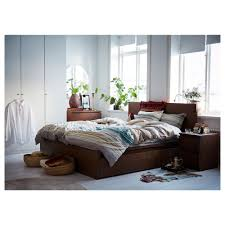 malm bed frame high w 2 storage boxes brown stained ash veneer