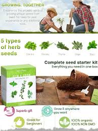 amazon com grow 5 organic herbs from seed with nature u0027s blossom