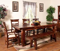 7 piece extension table with chairs and bench set by sunny designs
