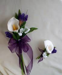 calla bouquet calla lilly bouquet purple wedding flowers with boutonniere faux