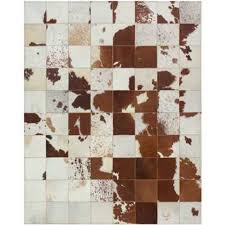 Cow Area Rug White Ivory Beige Brown Natural Cow Hide Patchwork Sew Area Rug