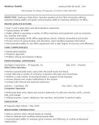 sample resume for data entry operator data entry cover letter