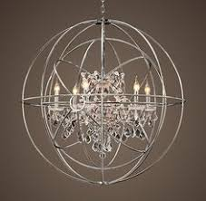 Sphere Chandelier With Crystals Restoration Hardware Foucault S Orb Chandelier