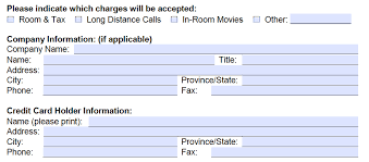 download best western credit card authorization form template