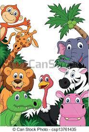safari cartoon vector illustration of safari animal cartoon background vectors