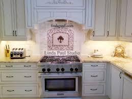 kitchen medallion backsplash country white kitchen with fleur de lis medallion