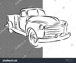 Old Ford Truck Vector - old pickup truck hand drawn artwork stock vector 415803565