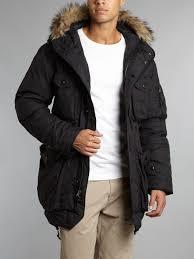 polo ralph lauren faux fur trim parka jacket in black for men lyst