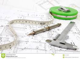 tools for home renovation on architectural drawing royalty free
