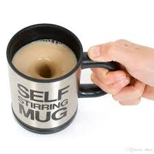 self stirring coffee chocolate or tea mug cup silver electric