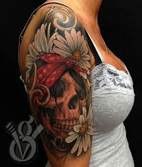 lovin the daisies with the skull pinup tattoos