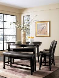 dark triangle kitchen table with counter height double seating