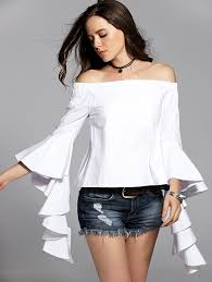 the shoulder blouses white flounce ruffles flare sleeve the shoulder blouse