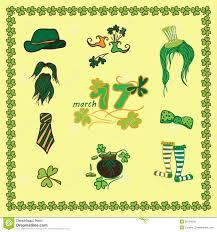 set irish st patrick day pattern with flat symbols of the holiday