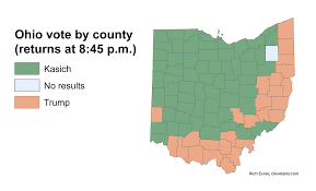Franklin Ohio Map by Most Of Ohio Is John Kasich Ohio County Vote Patterns Show