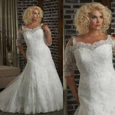 plus size fit and flare wedding dress 2013 half sleeves fit and flare lace plus size bridal wedding