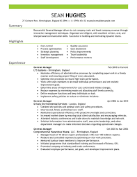 Resume For General Job by General Manager Resume 5 Uxhandy Com
