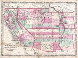 Map Of Utah by File 1864 Johnson Map Of California Nevada Utah Arizona New