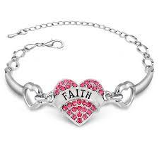 faith bracelets diy letters faith bracelets silver rhinestone heart