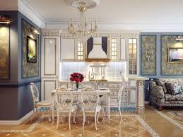 cool classic white kitchen ideas with cristal hanging lamp and