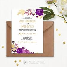 gold u0026 purple wedding invitation printable watercolor wedding