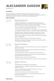 Manufacturing Resume Sample by Maintenance Supervisor Resume Samples Visualcv Resume Samples