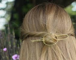 hair slide open circle hair slide silver hair clip hammered brass hair