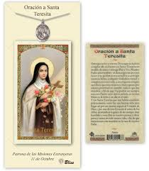 prayer card therese lisieux pendant and holy prayer card gift set by bliss