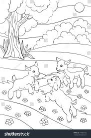 coloring pages farm animals three little stock vector 440387362