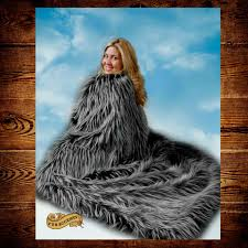 Faux Fur Throw Rugs Plush Luxury Faux Fur Throw Blanket Black With White Spikes