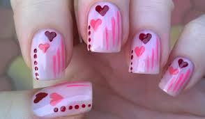 pastel pink valentine u0027s day heart nails easy dot nail art for